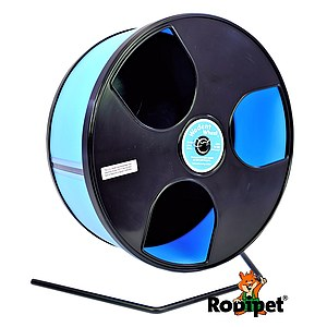 Ø 30 cm Wodent Wheel™ for large Syrian hamsters and gerbils - black/light blue